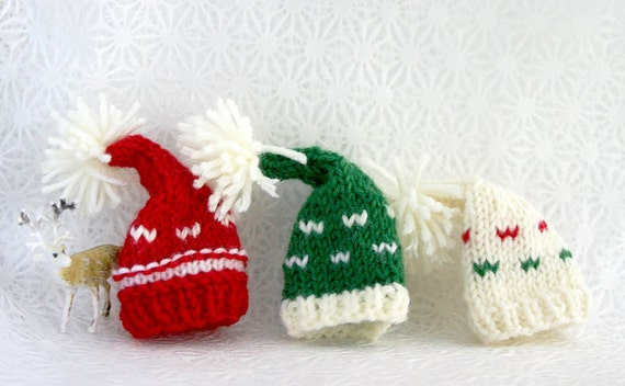 Miniature Knitted Hats 3 Knit Elf Hats Red Green Cream