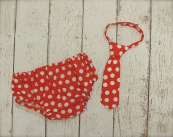 Baby Boy Tie or Bow Tie with Diaper cover SET - Red Polka Dot