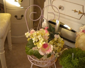 SALE...Chic Metal Chair and Shabby Chic Flower Arrangement, Cottage Chic, Baby's Room, Plant Stand