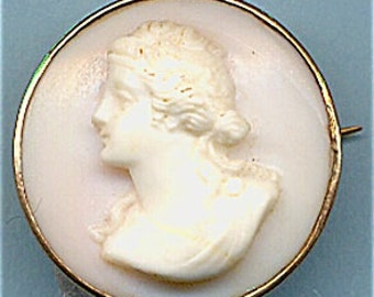"Small 7/8"" Hand Carved Shell Cameo  Item: 12129"