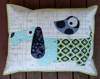 Slinky & the Bird PDF Applique Cushion Pattern - instant download