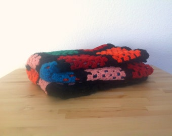 Vintage Afghan Colorful Knit Throw 1970's