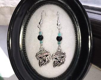 Day of the dead earrings - Aqua
