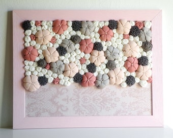 Fabric flower wall art 3D design Framed home decor Soft pink grey cream