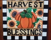 Harvest Blessings Sign, Autumn Wall Hanging, Seasonal Decoration, Pumpkin Plaque, Tole Painting, Hand Painted