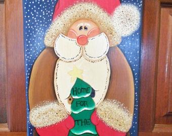 Christmas Decor, Christmas Sign, Home for the Holiday, Holiday Santa Sign, Christmas Door Hanger, Handmade Christmas, Holiday Door Hanger,
