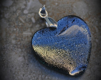 Heart Silver Plated Dichroic Fused Glass Pendant 6024