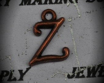 Letter Z Red Copper Charm