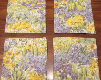 Yellow and Lavender Flowers  Fabric Coasters