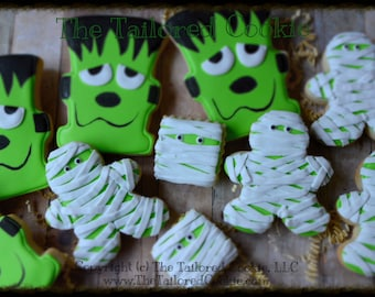 Decorated Assorted Halloween Cookies, Frankenstein, Mummy,  Mummies, Sugar Cookies, Shortbread Sugar Cookies, Halloween Favors