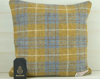 Harris Tweed Cushion Cover made in a Mustard and Blue Tartan-  16ins x 16ins - UK Shop