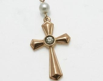 Vintage14k light rose gold Cross pearl cubic zirconia pendant Charm Estate