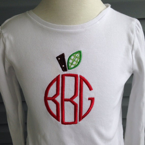 Back To School Shirt Apple Monogram T Shirt By