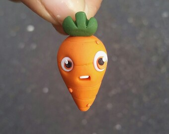 Polymer clay carrot charm, veggie charm, vegetable charm