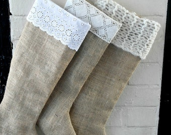 Cyber Monday  Sale Holiday Stockings in Natural  Burlap - set of 3