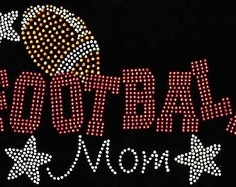 Football Mom Rhinestone Crystal Hot Fix Iron On Transfer