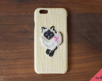 Embroidered iPhone case cat (Yellow) for iPhone6 / 6s