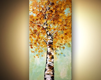 "Blooming Birch Tree Landscape Painting Original Textured Abstract Modern Acrylic Blue by Osnat - MADE-TO-ORDER - 48""x24"""