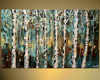 """Modern Landscape Birch Tree Painting Blue Teal Texture MADE-TO-ORDER Acrylic Painting by Osnat - 48"""" x 36"""""""