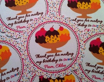 Ice Cream Birthday Party Favor Tags