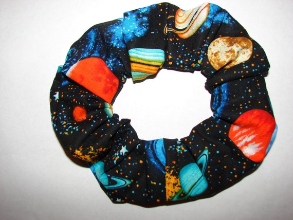 Planet Fabric Hair Scrunchie, women's accessories, womans scrunchies, planets stars, astronomy, universe, girls gifts, stocking stuffer