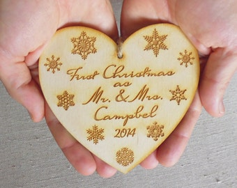 Christmas Ornament Tree Decor Personalized Engraved Christmas Decoration First Christmas as  Mr and Mrs Newlyweds Gift Wooden Ornament