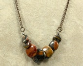 Red Creek Jasper and Chain Necklace, Graduated Bead Necklace, Overlapping Bead Necklace, Strand Necklace, Brass Chain