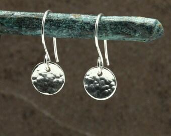 Small Hammered Silver Disc Earrings, Drop Earrings, Sterling Silver Earrings, Hammered Silver Earrings, Southwestern Earrings, Valentine's