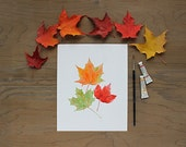 Maple Leaves Watercolor Print . Autumn Leaves Watercolour Painting . Maple Leaf Art Print . Fall Foliage . Orange Red Green . Canadian Art
