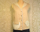 Clearance Sale Linen Vest Size M-L SleevelessTop Vintage Lace Altered Clothing Boho Gypsy Hippie Upcycled Upscaled Eco Chic