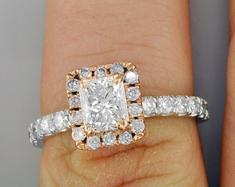 Halo and Pave Style Radiant and Round Cut GIA 1.64 CT Diamond Engagement Ring 18k WG