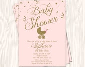 Pink Blush Rose Gold Glitter Baby Carriage Baby Shower or Sprinkle Invitation Card  - Any Color
