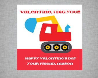 Personalized I Dig You Valentine's Day Stickers/Tags