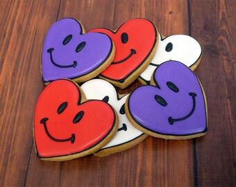 Decorated Cookies - Smiley Hearts - 1 DOZEN