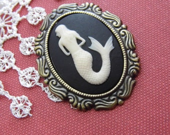 Kawaii Mermaid Nautical  Brooch Necklace Pendant Vintage Victorian Edwardian Cameo Mothers day