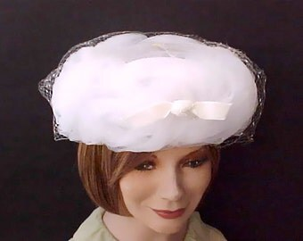 Beautiful Vintage Netting Covered 1950's Cloud-Like Hat