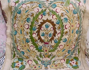 Nice Piece of Vintage Crewel Embroideredy for Exotic Pillow Cover