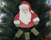 Santa, HO HO HO, Christmas, ornament, handpainted