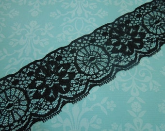 1 yard of 2 1/4 inch Black Chantilly Lace trim for gothic, steampunk, altered couture, lingerie by MarlenesAttic - Item XX5