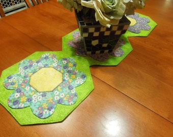 Handmade Floral Green table runner for easter, spring, holiday, housewares, home decor by MarlenesAttic