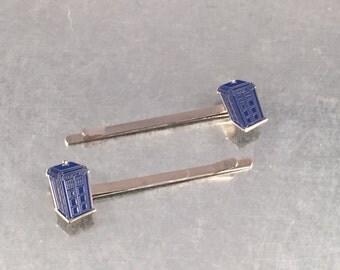 UK Phone Booth Blue Hair Pins, Hair Pins, Accessory, Hair Pins, Hair Accessories
