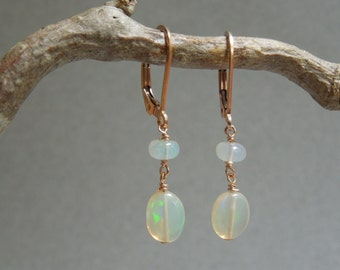 October Birthstone Earrings: AAA Opals- 14K Rose Gold Filled