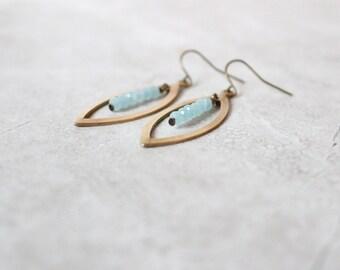 SALE 20% OFF - Brass Marquise Earrings, Modern Brass Earrings, Geometric Earrings, Minimalist Earrings, Lightweight Earrings