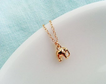 Gold Elephant  Necklace. Gold Filled. Tiny Elephant Charm. Delicate Dainty Minimal. Good Luck Jewelry. Graduation Gift