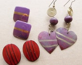 80s vintage over sized earrings in shades of wine and purple//ovals, squares, heart dangles--lot of 3 pairs