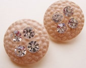 vintage celluloid eco friendly creamy blushing beige dimpled shank buttons with rhinestones--matching lot of 2