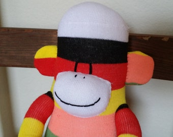 sock monkey doll, sock monkey, rainbow sock monkey, sock monkey plush, sockmonkey, monkey plush