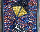 Mardi Gras bead mosaic, lamp post, New Orleans, blue, street light, 16x20, orange, yellow, gold, red, abstract, bead art, wall art, colorful