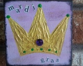 Mardi Gras, mixed media, Crown, New Orleans, bayoulandbeads, purple, green, gold, texture, small painting, 4x4 canvas, gift under 30