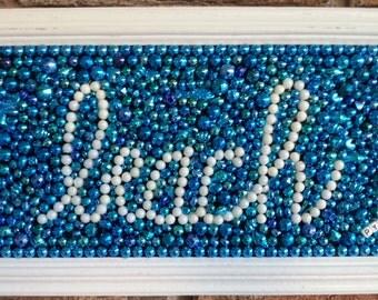 """Original Mardi Gras bead """"beach"""" mosaic, framed, turquoise, white, aqua, home decor, wall art, bead mosaic, beach art, beach, collage, art"""